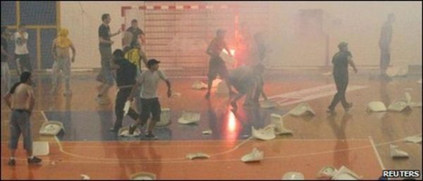 Fans fight in Greek handball riot
