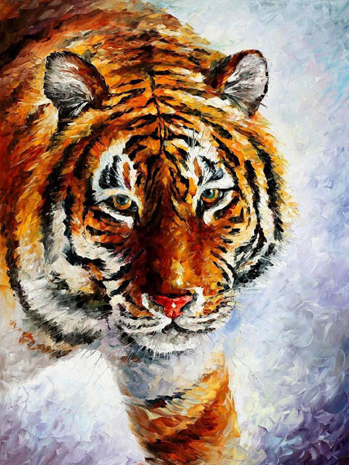 TIGER ON THE SNOW - Original Oil Painting on Canvas