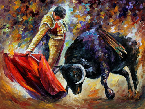 CORRIDA - DANGEROUS OPPONENT - Original Oil Painting on Canvas