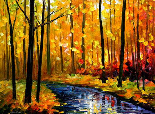 FALL STREAM - Original Oil Painting on Canvas