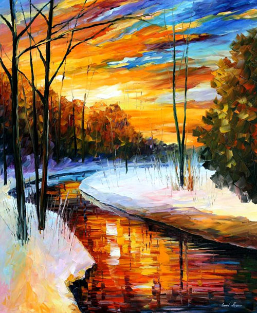 WINTER SUNSET - Original Oil Painting on Canvas