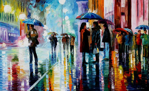 BUS STOP UNDER RAIN - Original Oil Painting