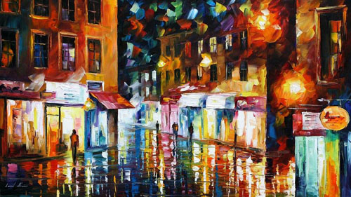SHOPPING DISTRICT - Original Oil Painting