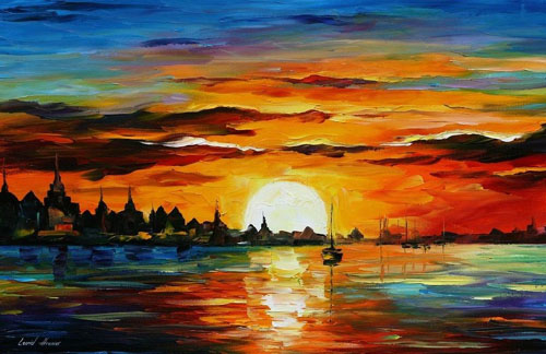 SUNRISE IN THE HARBOR- Original Oil Painting