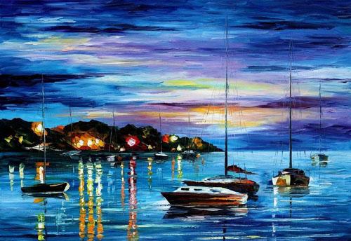 NIGHT HARBOR - Original Oil Painting