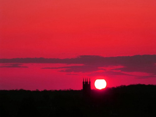 Sunset over Church, Suffolk, UK