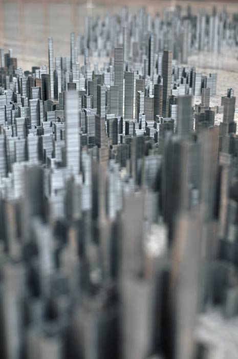 ephemicropolis2 Model of Futuristic City Made of Stacked Staples