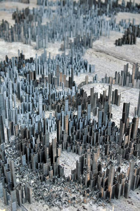 ephemicropolis3 Model of Futuristic City Made of Stacked Staples