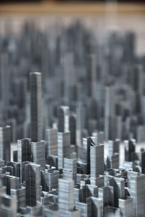 ephemicropolis4 Model of Futuristic City Made of Stacked Staples