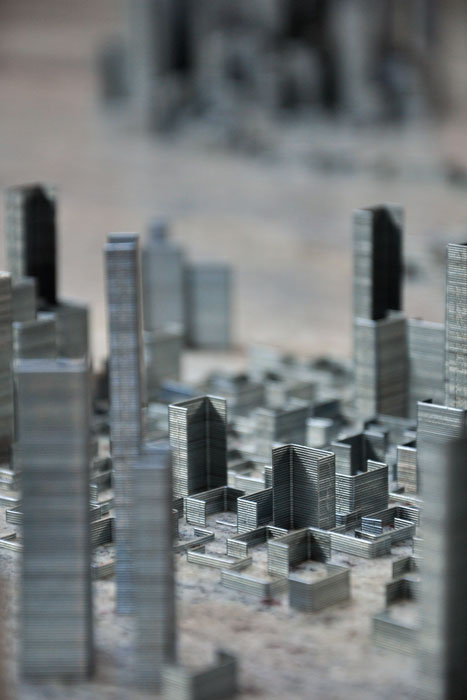 ephemicropolis5 Model of Futuristic City Made of Stacked Staples