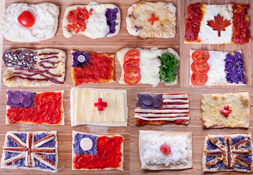 pizza flags Mini pizzas turned into flags