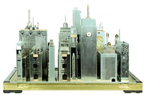 computer city 1 500x324 Computer Parts Transformed into Urban Sculptures