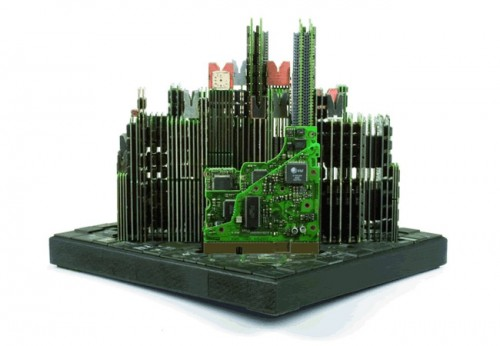 computer city2 500x346 Computer Parts Transformed into Urban Sculptures