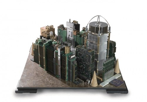 computer city4 500x346 Computer Parts Transformed into Urban Sculptures