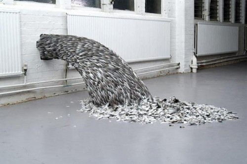 Modern Art Made From Pigeon Feathers