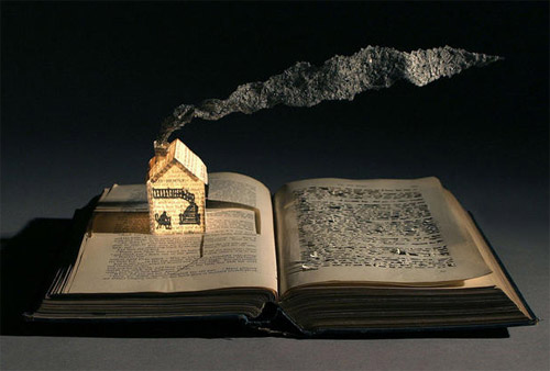 house book art Impressive Book Sculptures and Cut out Illustrations