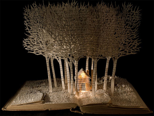 house in wood in book art Impressive Book Sculptures and Cut out Illustrations