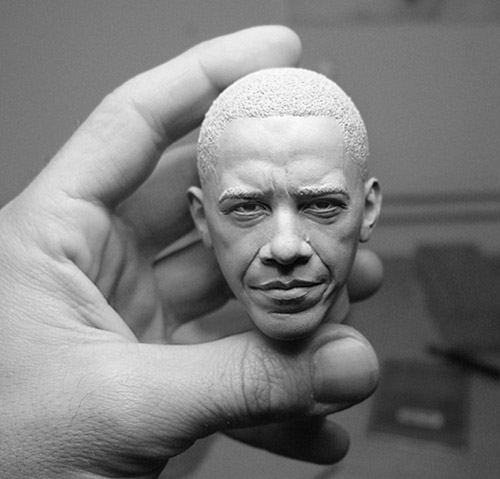 obama head sculpture Delicate Sculptures Made From Special Material