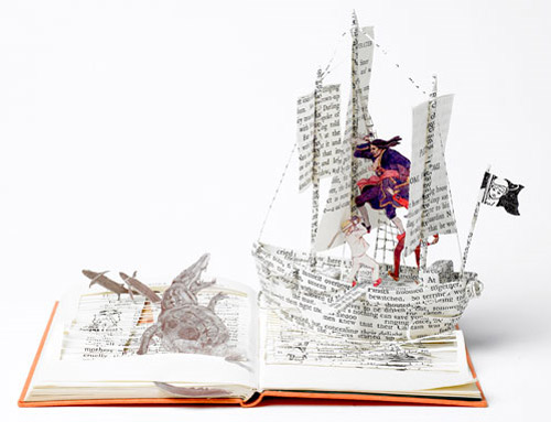 paper ship book art Impressive Book Sculptures and Cut out Illustrations