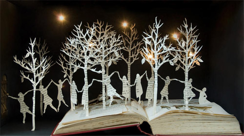 people in book art Impressive Book Sculptures and Cut out Illustrations
