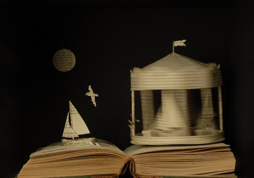 sea in book art Impressive Book Sculptures and Cut out Illustrations