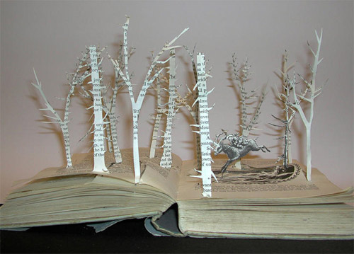 trees in book art Impressive Book Sculptures and Cut out Illustrations