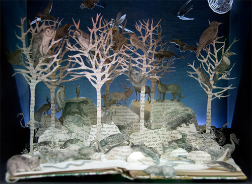 woods animals in book art Impressive Book Sculptures and Cut out Illustrations