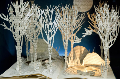 woods book art Impressive Book Sculptures and Cut out Illustrations