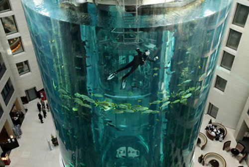 inside berlin hotel Largest Aquarium Elevator In The World