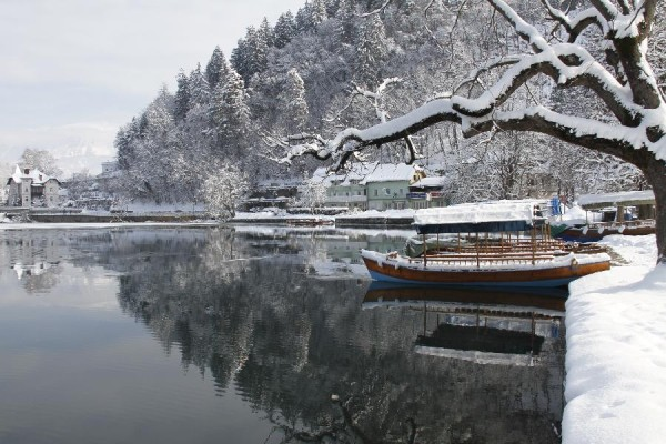 lake bled02 600x400 Breathtaking winter scenery on glacial Lake Bled in Slovenia