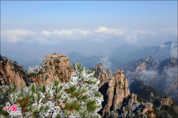 Beautiful rime in Mt. Huangshan, China